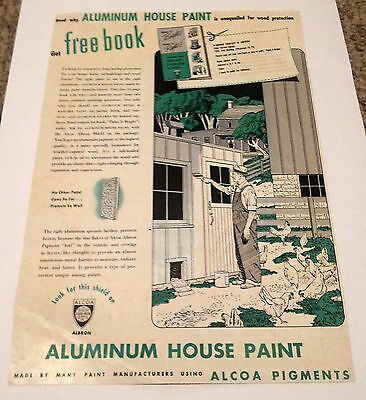 Aluminum House Paint with Alcoa Pigments Vintage Print Ad 1948 Green Silver