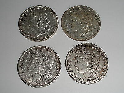 Lot of 4 Silver Morgan Dollars 1879s 1883s 1896 1900 US Coins  Free Shipping