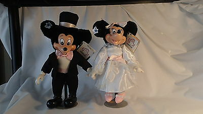 """Mickey & Minnie Mouse Wedding Set-APPLAUSE-12"""" w/Stands and Tags-EXCELLENT COND."""
