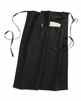 "Liberty Bags Cafe Bistro Apron 5508 Black 28"" x 32"" Waiter or Waitress Apron NEW"