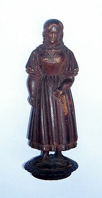 Hand Carved Wooden Folk Art Statue of Woman Very Old Antique