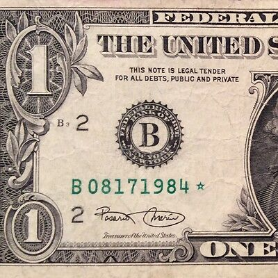 Birthday Bill- Aug 17 1984 Fancy $1.00 2003 Star Federal Reserve Note Circulated