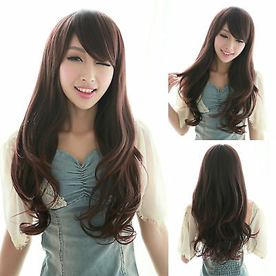 Womens Curly Wavy Long Hair Full Wigs Fashion Charming Cosplay Party Brown Wig