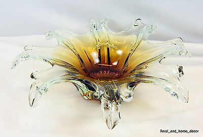 """New 12"""" Hand Blown Glass Murano Art Style Sculpture Leaf Bowl Amber Clear Candy"""