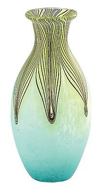 "New 13"" Hand Blown Glass Murano Art Style Vase Green Blue Pulled Feather"