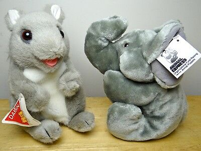 NWT Hand Puppets Animal Express Elephant 1979 Dakin Squirrel 70s-80s NEVER USED