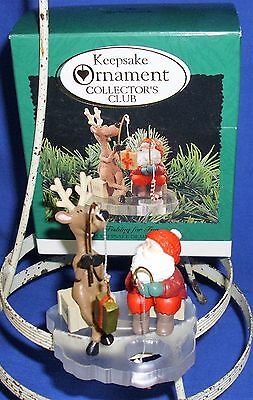 Hallmark Clip On Ornament Fishing for Fun 1995 Santa Reindeer Ice Fishing Used