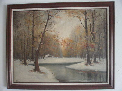 Vintage tonalism oil on canvas autumn - winter scene with artists' initials