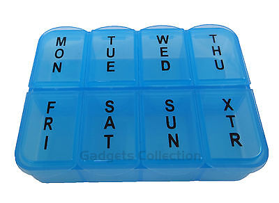7 Days Plastic 8 Compartments Pill Container Case Organizer Box PINK OR BLUE