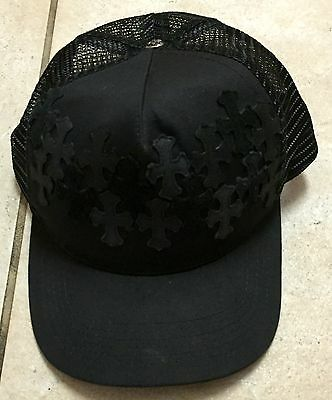 ARI SOFFER CHROME HEARTS STYLE LEATHER CROSS SILVER ADJUSTABLE SNAP BACK HAT