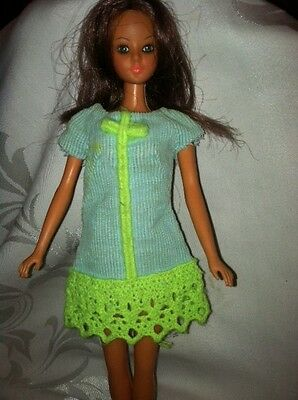 "Vintage Mod Barbie Doll Outfit #1853 ""NOW WOW"" BLUE DRESS RETRO GREEN"