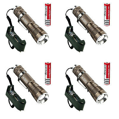 4PCS 1600 Lumen CREE XM-L Q5 LED Flashlight Torch Lamp Light +18650 +Charger USA