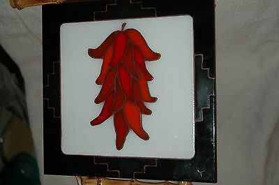 LAMOSA CHILI PEPPER TILE VIBRANT COLORS NEARLY 8 INCHES SQUARE