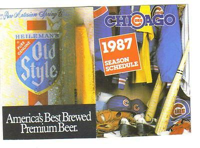 10 - CHICAGO CUBS / OLD STYLE BEER POCKET BASEBALL SCHEDULES -1987 - AVAILABLE