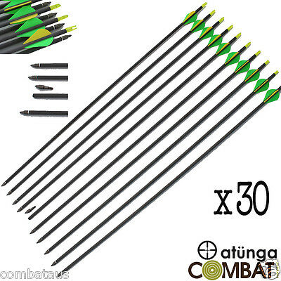 """30x 30"""" CARBON FIBRE ARROWS 4 COMPOUND OR RECURVE BOW TARGET ARCHERY HUNTING NEW"""