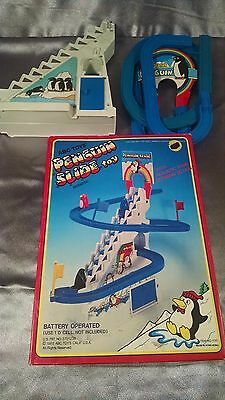 VTG 1985 ABC TOYS PENGUIN SLIDE BATTERY OPERATED TOY PLUS EXTRAS HONG KONG RARE!