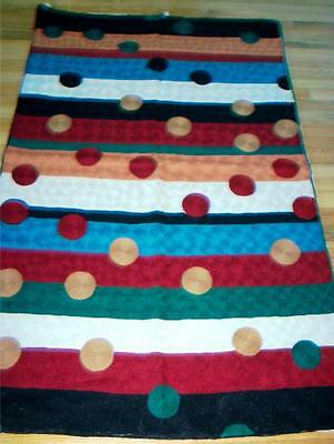 Burdundy Blue Traditional Dotted Striped Area Rug 3 x 5' Wool Fringed