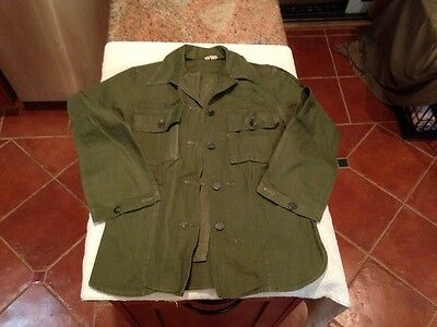 US Army WWII HBT Herring Bone Twill Combat SHIRT Jacket,13 Star Buttons, Sz S,36