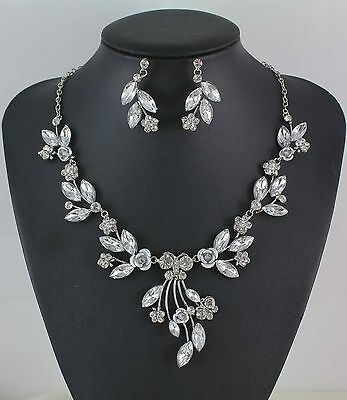 Fashion Silver Plated Austrian White Rhinestone Crystal Necklace Earring Set