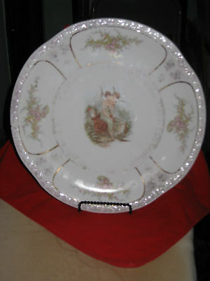 "ANTIQUE BAVARIA ZS & Co., PORCELAIN 12"" Scallop Plate with Roses, Maiden& Cherub"