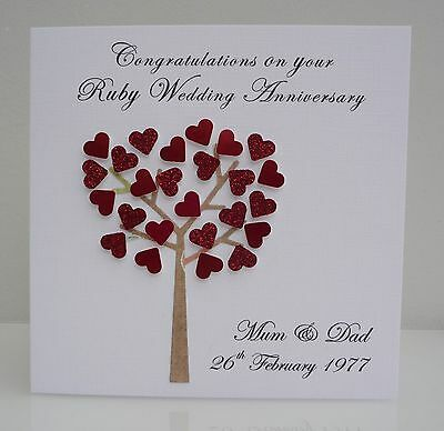 Personalised Ruby Wedding Anniversary Card - 40 years / Any Anniversary