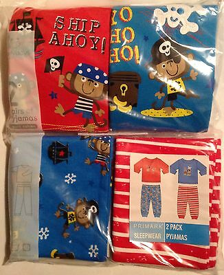 Baby Boys 2 pack Interchangeable Cotton Pyjamas with Pirate Monkey detail.