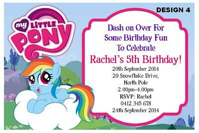 1 X MY LITTLE PONY PERSONALISED BIRTHDAY INVITATIONS INVITES FREE MAGNETS