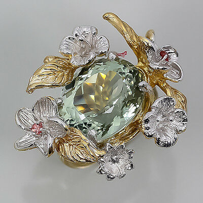 White&14k Gold -If- Natural Green Amethyst Sterling 925 Silver Ring Size 7.5