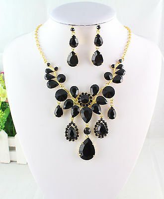 Fashion Gold Plated Austrian Black Rhinestone Crystal Necklace Earrings Set