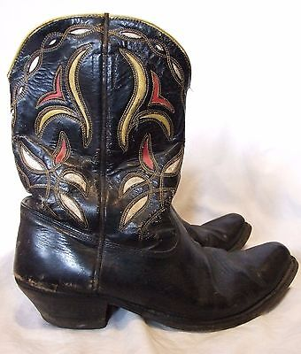 Vtg 30s 40s 50s ACME Shorty Pee Wee INLAID Black Leather Cowboy BOOTS 9.5 D Mens