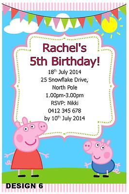 20 X PEPPA PIG GIRLS BIRTHDAY PERSONALISED PARTY INVITATIONS FREE MAGNETS