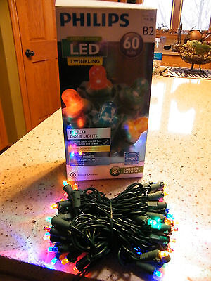 Philips LED 60ct Twinkling Multi-Color Dome Lights Indoor/Outdoor NEW