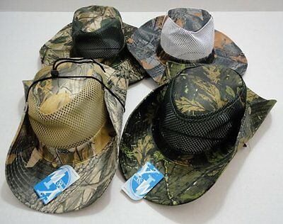 120pc Lot Camouflage Hardwood Camo Mesh Fishing Hats Boonie Safari Outback Hat