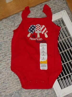 "NWT - Jumping Beans ""All American Sweetie"" red sleeveless top - 3 mos girls"