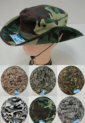 60pc Lot Camo Fishing Hats Army Military Camouflage Floppy Boonie Hat w/ Snap