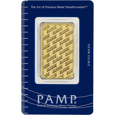 1 oz. Gold Bar - PAMP Suisse - Suisse Design - 999.9 Fine in Sealed Assay