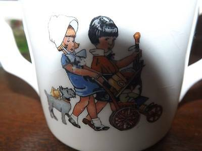 VINTAGE AVCO CHINA CHILD'S CUP, TWO GIRLS & DOG WITH BABY IN STROLLER, H1