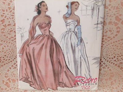 Vtg 1950s Strapless EVENING GOWN PROM DRESS COUTURIER Style RETRO Pattern S14-20