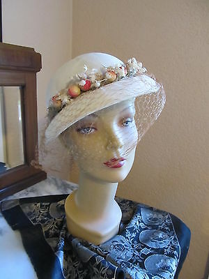 Vintage 1930s small pique fabric small brim hat w/ cherries & lily-of-the-valley