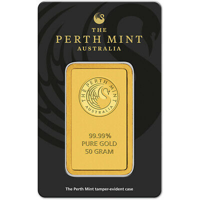 50 gram Gold Bar - Perth Mint - 99.99 Fine in Assay