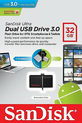 Pendrive Sandisk Dual Drive 32 GB USB 3.0 y MicroUSB Movil Tablet Memoria Ultra