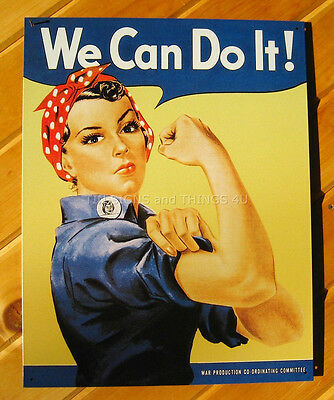 "16""x12.5"" We Can Do It Rosie the Riveter TIN SIGN metal poster nostalgic 796-A"