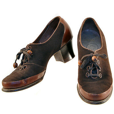 Vintage 30's Swing Lace Up Oxford Brown Leather Suede Shoes 4.5