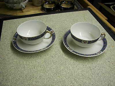 Limoges 2 Cups & 2 Saucers  France Made for Jordan Marsh Company