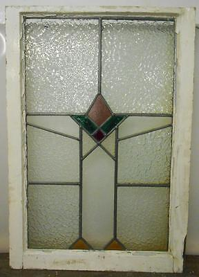 "MID SIZED OLD ENGLISH LEADED STAINED GLASS WINDOW Geometric 21"" x 30.5"""