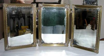 Antique Tri-Fold Shaving Mirror Beveled Brass Hinges Chain Early Victorian Era