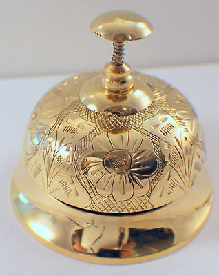 Solid Brass Polished Hotel Gold-Tone Brass Victorian Working Desk Bell #3315P