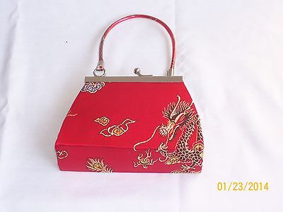 "LADIES COSMETIC BAG CHINESE PRINT RED SATIN SMALL NEW 3 1/2"" x 3 1/2"""