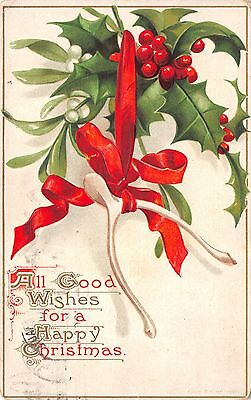 Lot of 4 Vintage Clappsaddle Christmas Greetings 2 Posted 1911 Postcards #33053