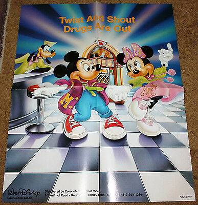 1988 DISNEY MICKEY AND MINNIE MOUSE GOOFY TWIST AND SHOUT DRUGS ARE OUT POSTER